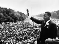 Martin Luther King met publiek