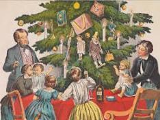 gezin rond kerstboom