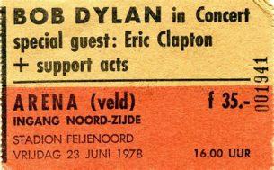 kaartje Dylan in concert 1978