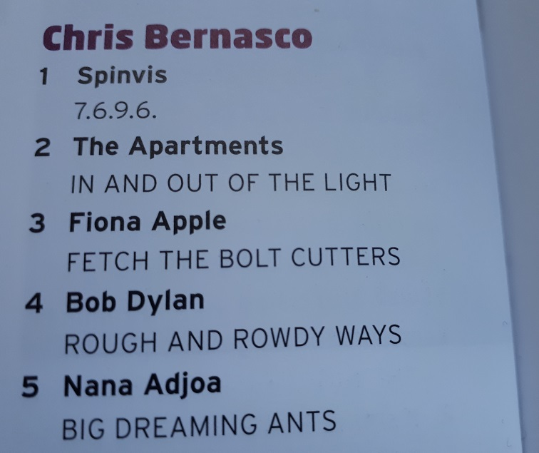 Album Top 5 van 2020 door Chris Bernasco